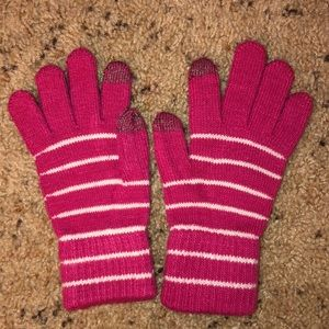 pink striped tech touchscreen compatible gloves